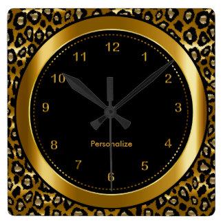 Metallic Dark Gold and Black Leopard Print Square Wall Clock