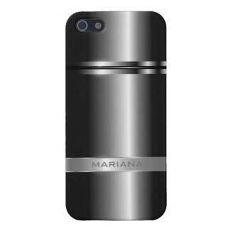 Metallic Dark Gray And Silver Stainless Steel Look iPhone 5 Covers