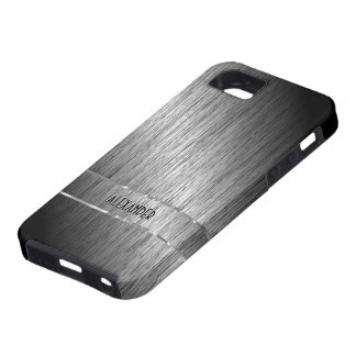 Metallic Dark Gray Brushed Steel -Monogram iPhone 5 Covers