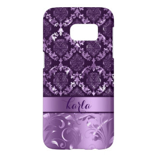 Metallic Dark & Light Purple Damasks And Lace Samsung Galaxy S7 Case