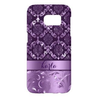 Metallic Dark & Light Purple Damasks And Lace Samsung Galaxy S7 Case