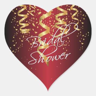 Metallic Dark Red Gold Confetti Bridal Shower Heart Sticker