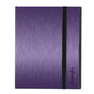 Metallic Deep Purple Brushed Aluminum Look iPad Covers