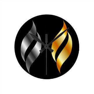 Metallic design elements round clock