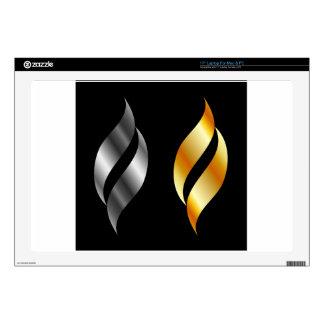 Metallic design elements skin for laptop