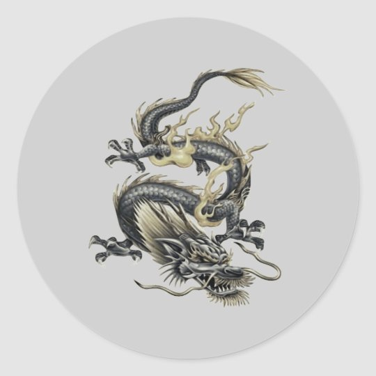 Metallic Dragon Classic Round Sticker