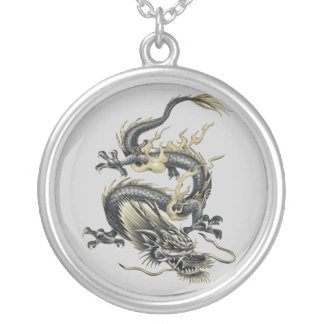Metallic Dragon Round Pendant Necklace