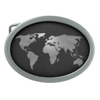 Metallic Earth Map Oval Belt Buckle