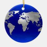 Metallic Earth Map Christmas Tree Ornaments