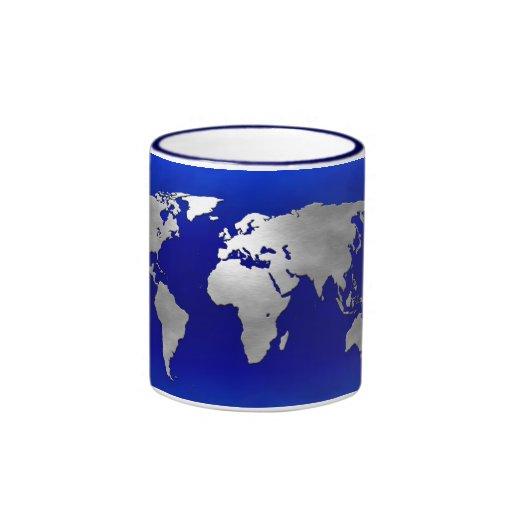 Metallic Earth Map Coffee Mugs