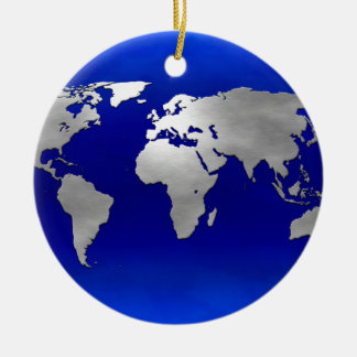 Metallic Earth Map Double-Sided Ceramic Round Christmas Ornament
