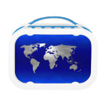 Metallic Earth Map Lunch Boxes