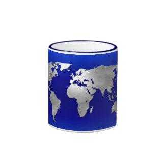 Metallic Earth Map Ringer Mug