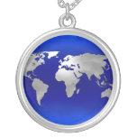 Metallic Earth Map Pendant