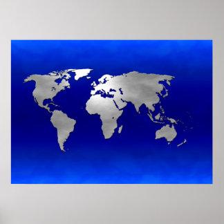 Metallic Earth Map Poster