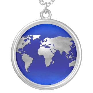 Metallic Earth Map Round Pendant Necklace