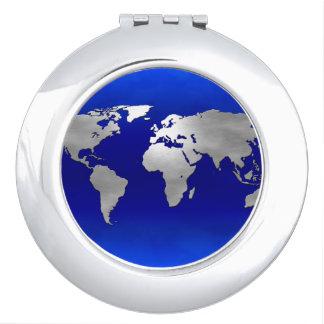 Metallic Earth Map Vanity Mirror