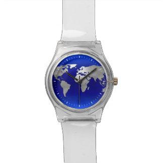 Metallic Earth Map Watches