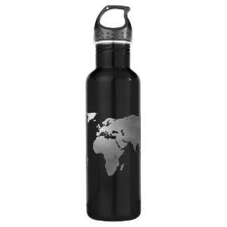 Metallic Earth Map Water Bottle
