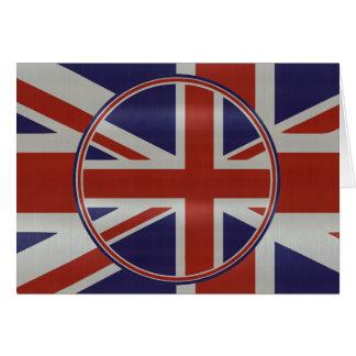 Metallic effect union jack flags greeting card
