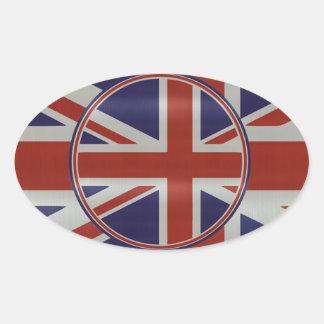 Metallic effect union jack flags oval sticker