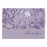 Metallic Embossed Look Damask in Lavender Card
