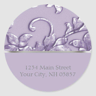 Metallic Embossed Look Damask in Lavender Classic Round Sticker