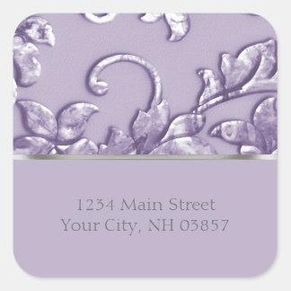 Metallic Embossed Look Damask in Lavender Square Sticker