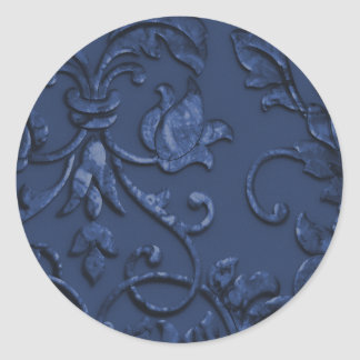 Metallic Embossed Look Damask in Navy Blue Classic Round Sticker