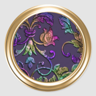 Metallic Embossed Look Damask in Plum Multi Classic Round Sticker