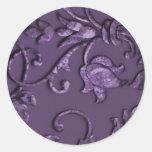 Metallic Embossed Look Damask in Plum Classic Round Sticker