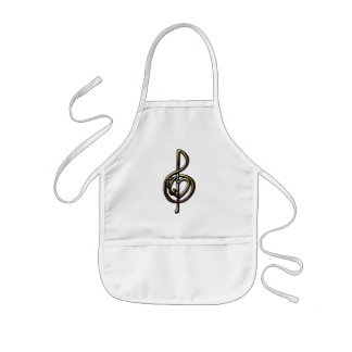 Metallic Embossed Musical Treble Clef with Heart Kids' Apron
