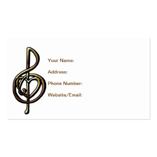 Metallic Embossed Musical Treble Clef with Heart Business Card