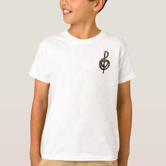 Metallic Embossed Musical Treble Clef with Heart T-Shirt