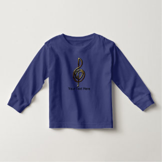 Metallic Embossed Musical Treble Clef with Heart T Shirt