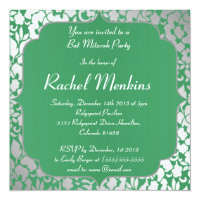 Metallic Emerald Green Bat Mitzvah Invitation