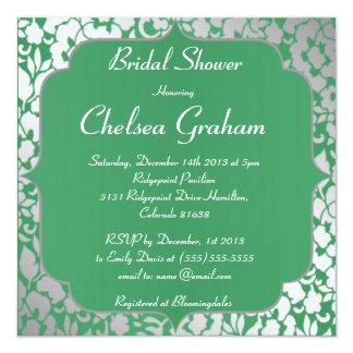 Metallic Emerald Green Bridal Shower Invitation