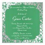 """Metallic Emerald Green Happy Birthday Invitation 5.25"""" Square Invitation Card"""