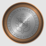 Metallic Emossed Ganesha Sign Classic Round Sticker