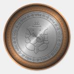 Metallic Emossed Ganesha Sign Round Sticker