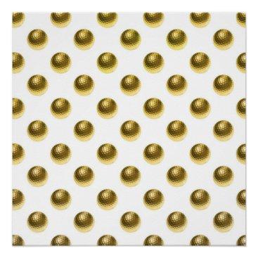 ZZ_Templates Metallic Faux Foil Gold Golf Balls Background Ball Poster