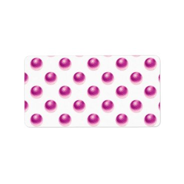 ZZ_Templates Metallic Faux Foil Pink Golf Balls Background Ball Label