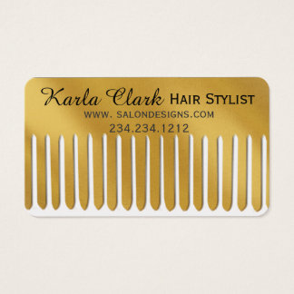 Metallic Faux Gold Comb Hair Stylist Business Card