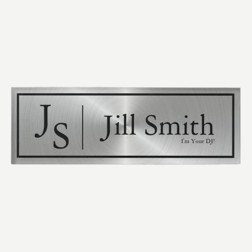 Metallic Faux Monogram DJ Name Tag