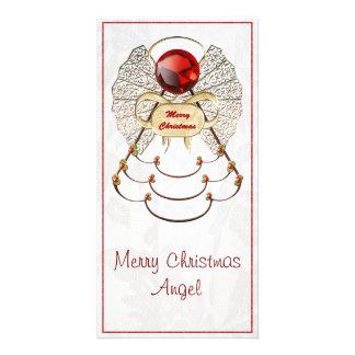 Metallic Filigree Merry Christmas Angel Customized Photo Card