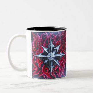 Metallic flaming Chaos symbol Mug
