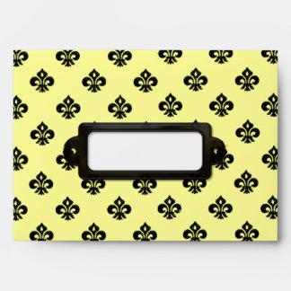 Metallic Fleur de lis Black Envelopes