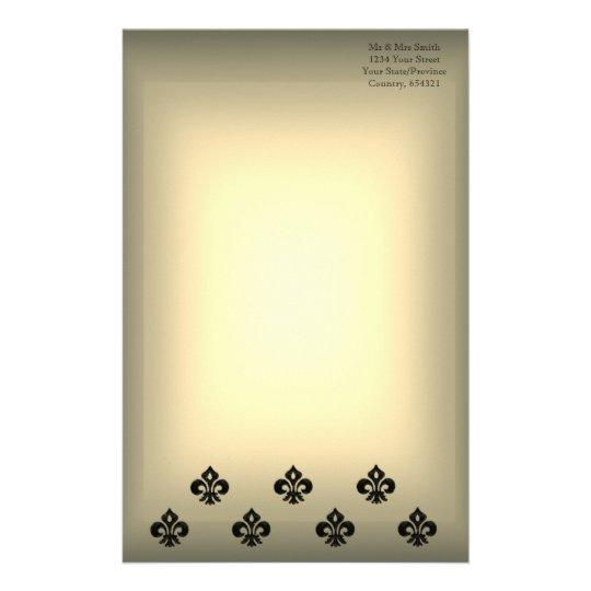 Metallic Fleur de lis (Black) Stationery