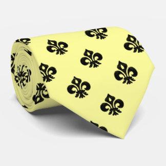 Metallic Fleur de lis (Black) Tie