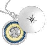 Metallic Fleur de lis Photo Frame (Gold) Round Locket Necklace